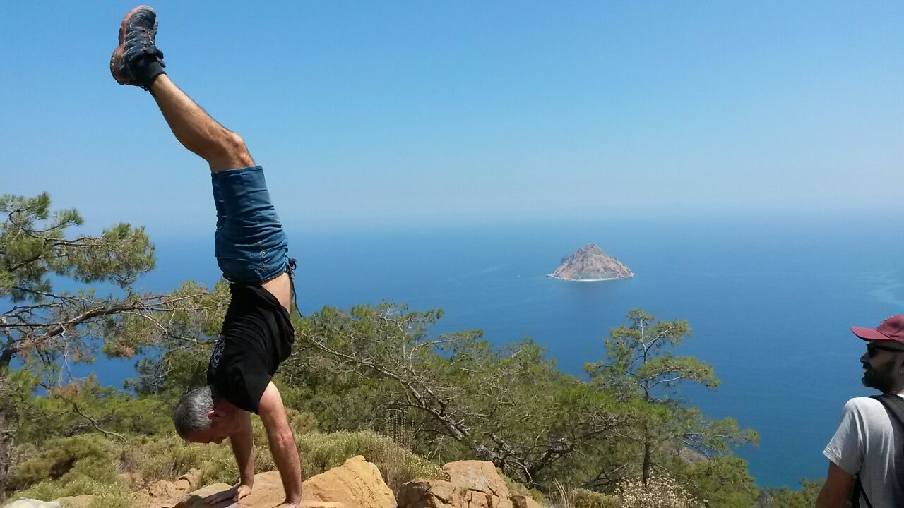 handstand with panoramic view