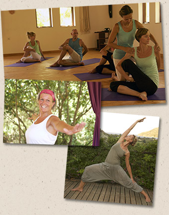 different Yoga asanas and adjustment